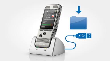 Automatischer Dateidownload per USB für schnelle Transkription