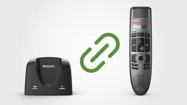 Einfaches Koppeln mit einem SpeechMike Premium Air zur flexiblen arbeitsplatzunabhängigen Nutzung